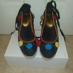 Authentic Juicy Couture flower Wedges